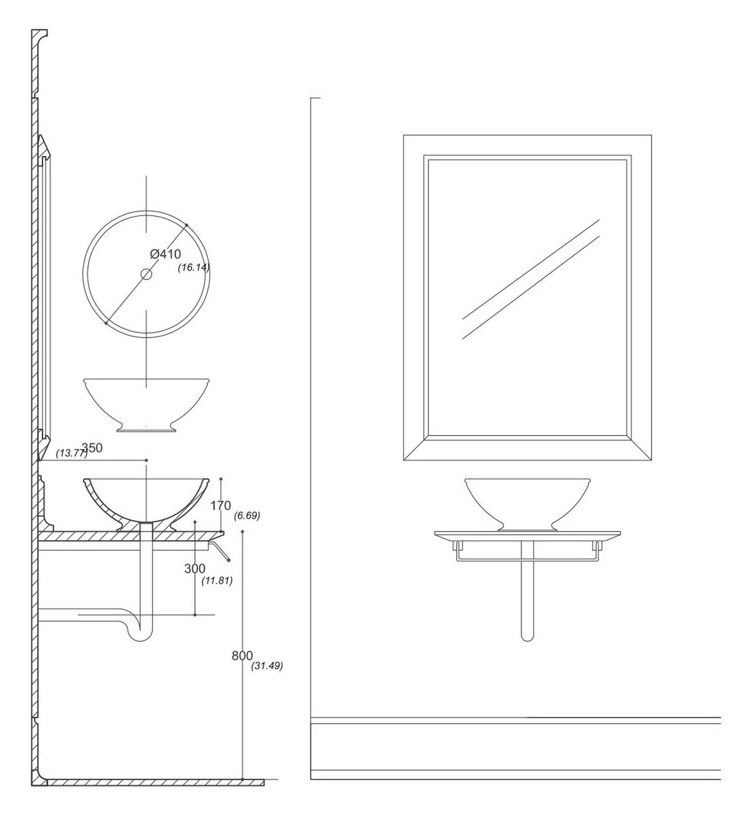 Arredo Bagno_Lavabo Agrippa_Disegno tecnico
