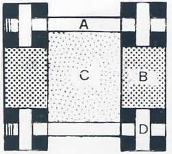 Intreccio - pavimenti in marmo bianco, rosa, nero, verde